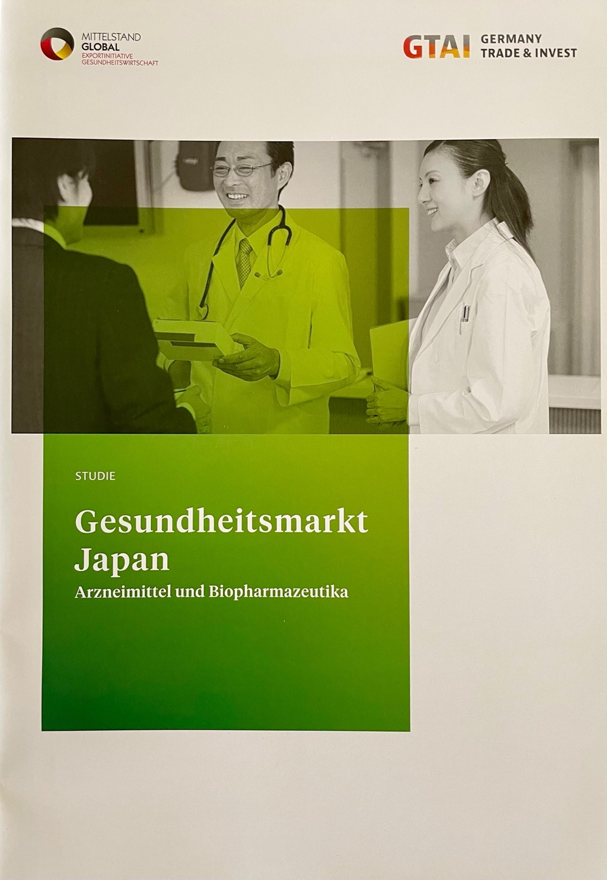 Report in German (2019, 23 pages) on the Japanese market of drugs and biopharmaceuticals which includes regulatory issues, pricing, marketing, cultural aspects and main actors. The brochure can be downloaded from German Trade and Invest (GTAI) through The brochure can be downloaded for free from German Trade and Invest (GTAI) through https://www.exportinitiative-gesundheitswirtschaft.de/EIG/Redaktion/DE/Publikationen/PDF/gesundheitsmarkt-japan.html